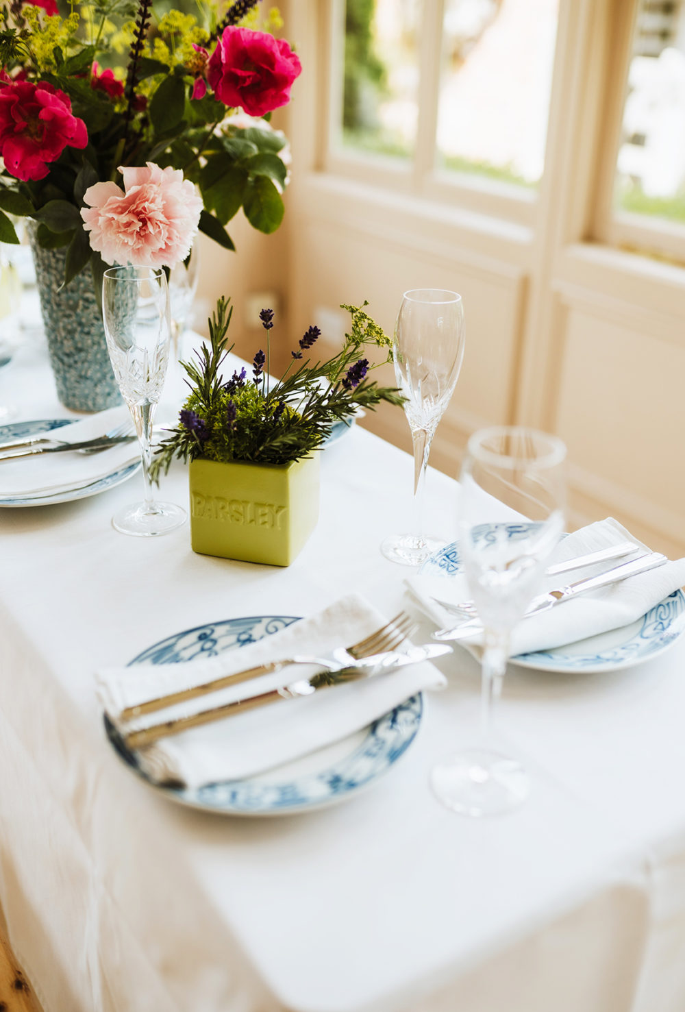 Country house table set for lunch